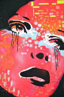 Jouw hoofd? mixed media neon schilderij modern abstract