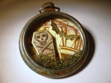 Altered Pocket Watch, Dead Time, Gothic and Steampunk Accessory, One of a Kind Mixed Media Assemblage by twistedpixelstudio for $25.00