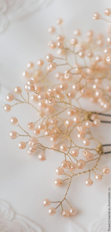 """Купить Шпильки """"Весенние капельки"""" (натуральный жемчуг) - белый, жемчуг, шпильки для волос, шпильки для невесты"""