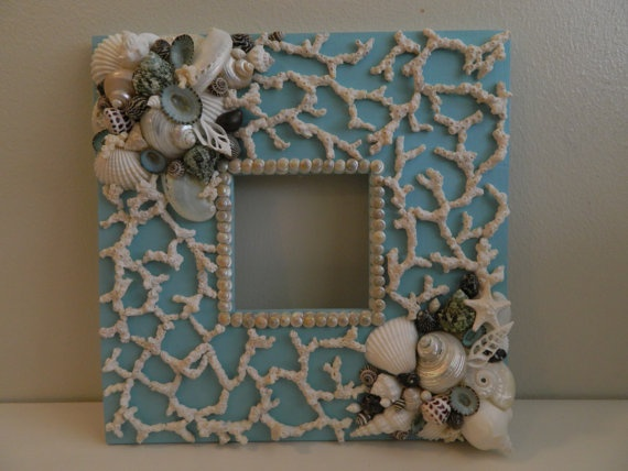 Tranquil Waters Aqua Frame with Shells and Coral by Tersjustbeachy, $75.00