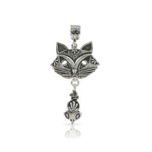 Silver Cat and Mouse Pendant by Prey Jewellery