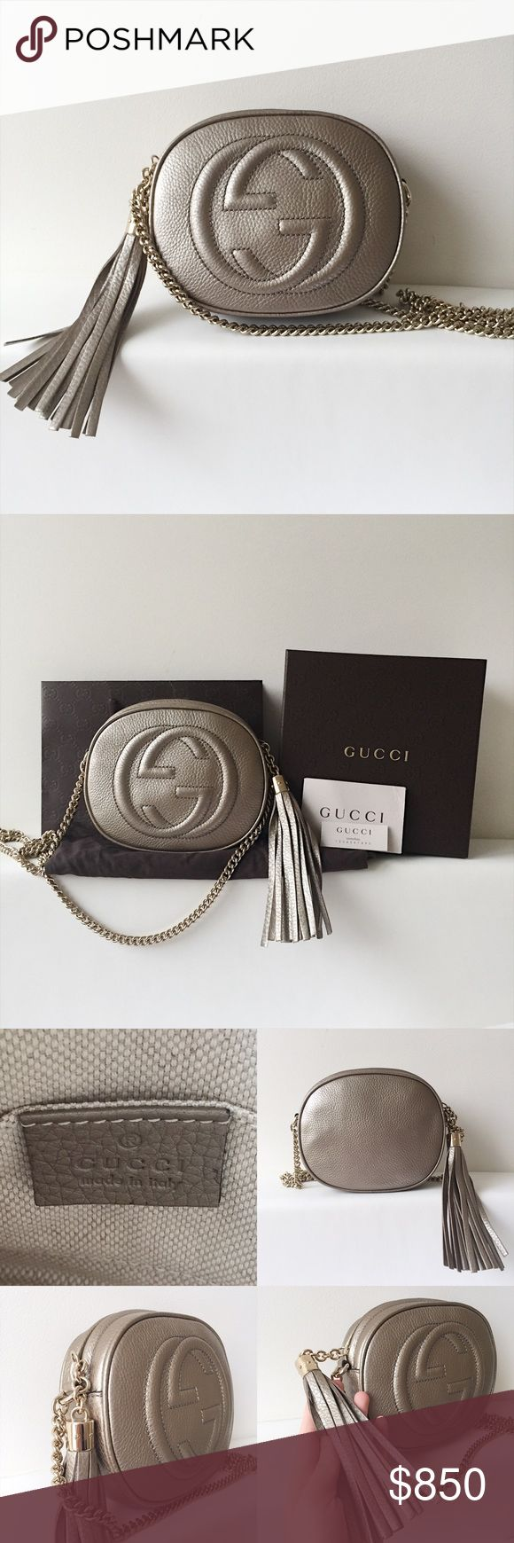 GUCCI mini disco metallic leather bag Price is negotiable through other channel. Gucci Bags