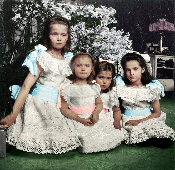 """imperial-russia: """"""""The four daughters of the last Russian Tsar: Grand Duchesses Olga, Tatiana, Maria and Anastasia, in an informal photograph in Alexander Palace, Tsarskoe Selo. mid-1900s. """" """""""