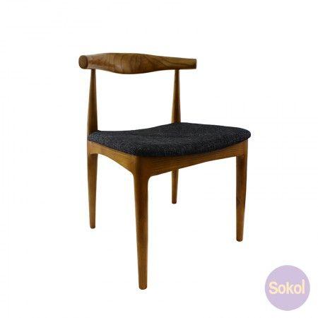 Replica 'Elbow' Chair Walnut - Fabric Seat