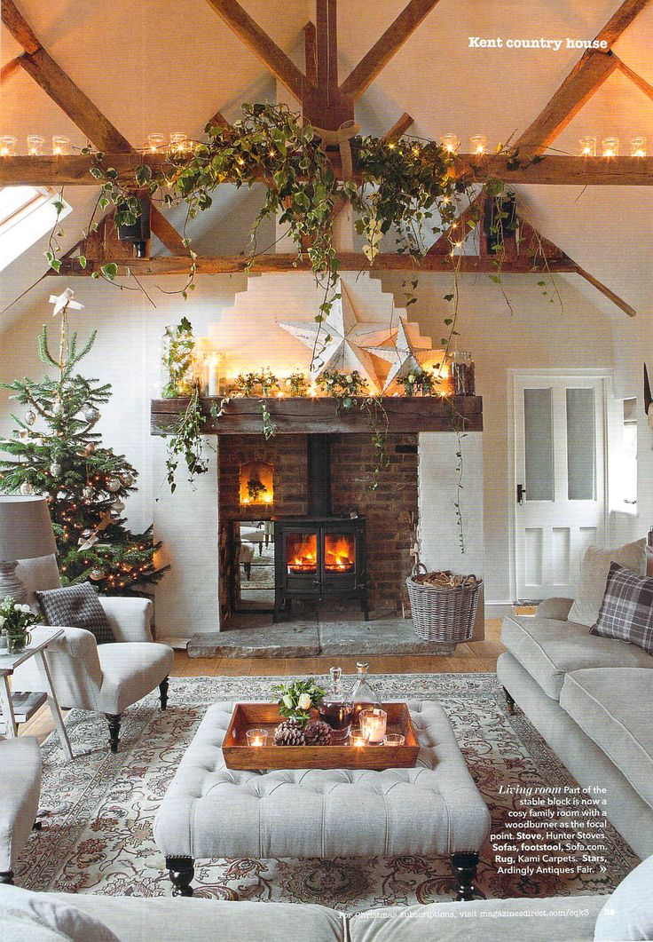 Country Homes & Interiors- like the woodstove set inside fireplace opening