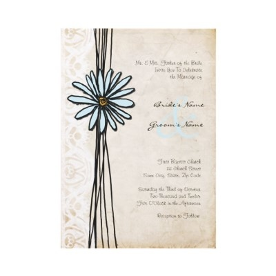 Old Fashioned Blue Daisy Wedding Invitation  This vintage old fashioned wedding invitation features whimsical customizable text with a light blue daisy flower and faded white lace against an aged parchment paper.