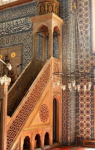 Tilework inside the Rustem Pasa Mosque, Istanbul, Turkey    ::::  PINTEREST.COM christiancross   ::::