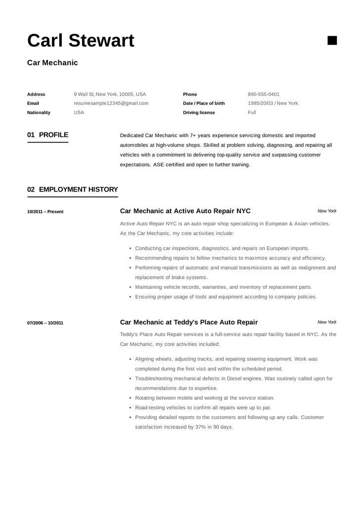 Free Car Mechanic Resume Sample, Template, Example, CV