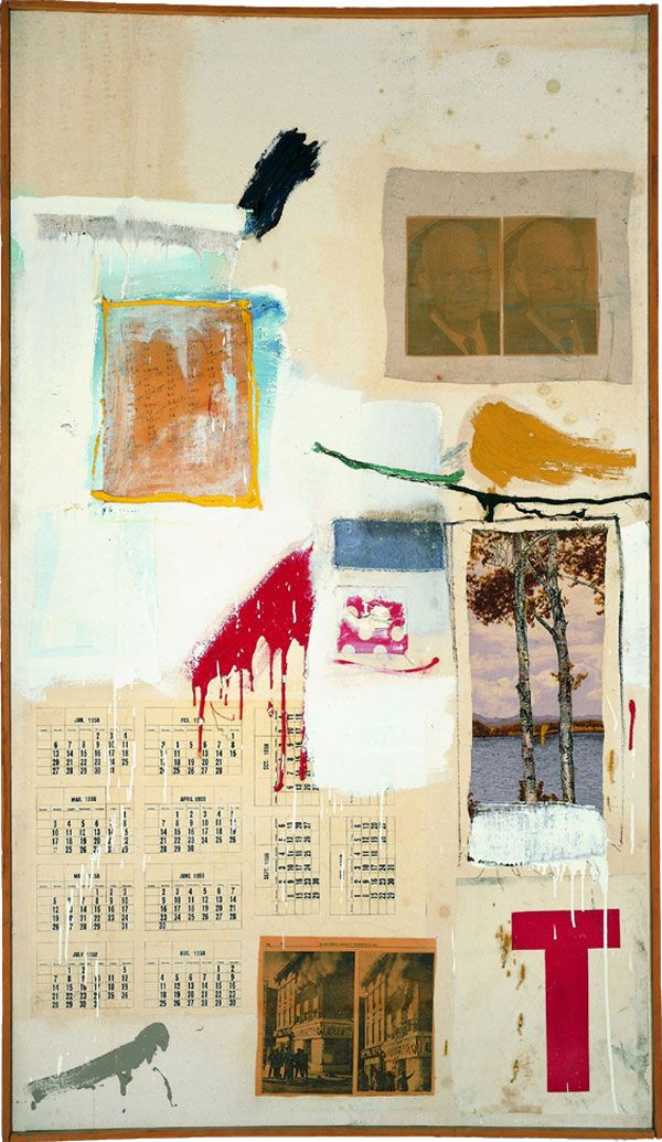 Robert Rauschenberg, Factum I. 1957, Combine painting: oil, ink, pencil, crayon, paper, fabric, newspaper, printed reproductions, and painted paper on canvas