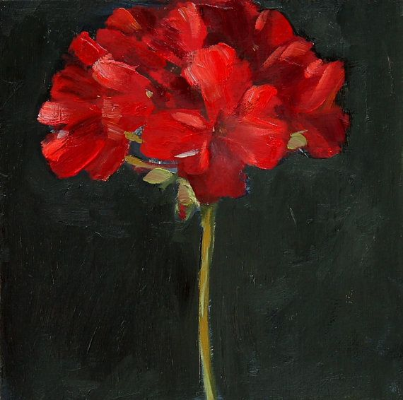 Red Geranium Flower Still Life Painting Oil on wood panel 8x8 inch wall decor. $150,00, via Etsy.