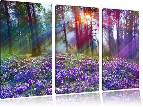 Lavanda en el bosque 3 piezas imagen pantalla 120x80 sobre - Ikea cuadros grandes ...