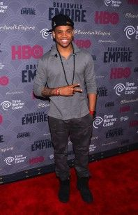 "Tristan Wilds wears Givenchy Star Patched and Striped Polo Shirt at ""Boardwalk Empire"" Season 4 Premiere 