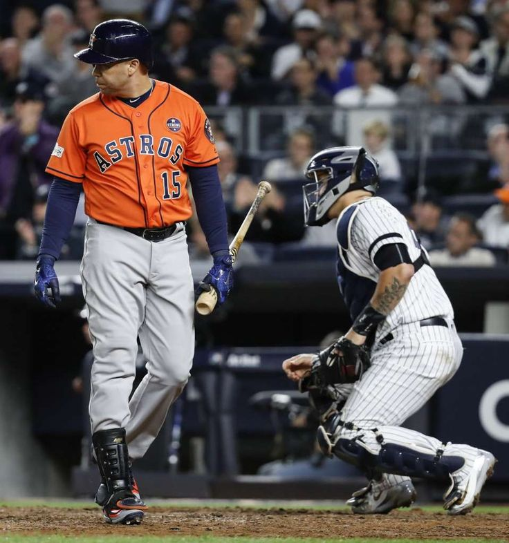 October 18, 2017:  Astros on brink of elimination after being shut out by Yankees in Game 5.   Houston Astros designated hitter Carlos Beltran (15) walks away from the plate after striking out during the fifth inning of Game 5 of the ALCS at Yankee Stadium on Wednesday, Oct. 18, 2017, in New York. ( Karen Warren / Houston Chronicle )