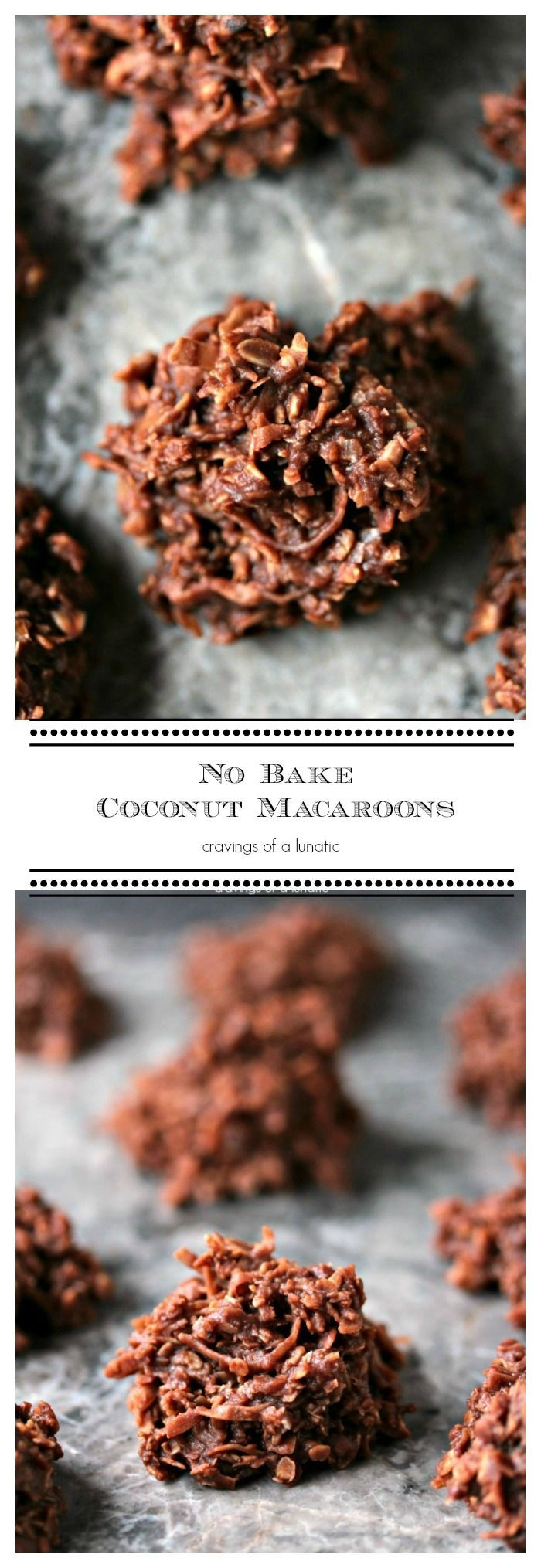 No Bake Coconut Macaroons from cravingsofalunatic.com- Simple, quick No Bake Cookies that will impress your guests without them ever guessing they took you about 10 minutes. (@CravingsLunatic)