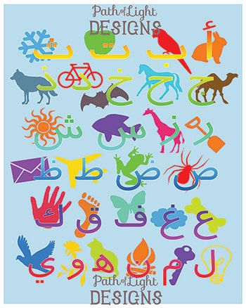 Arabic Alphabet with Animals & Objects by PathOfLightDesigns