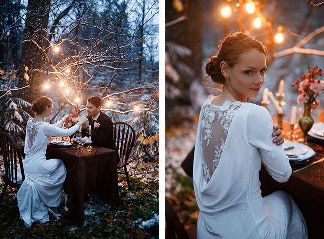 Зимняя свадьба: тёплое и уютное оформление, фотосессия жениха и невесты, декор с фонариками