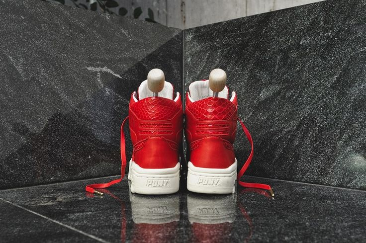 "The sneaker is made from a thick red Italian leather with a tasteful snakeskin-deboss pattern seen at the PONY quarter panel logos and heel panel. The lateral collar features ""Fieg"" – branding hits in the same font as the OG PONY logo, which is located on the medical collar; ""RF"" branding is also located on the tongue. The liner is made from white calfskin leather, as are the custom-printed insoles. Fitting with the leather agenda, Ronnie chose tonal leather laces as the primary option."