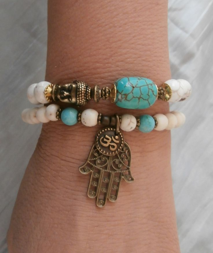 Inner Calm Turquoise & Howlite Buddha Bracelet set with Om and Hamsa hand and Buddha, Reiki, free shipping. $34.00, via Etsy.