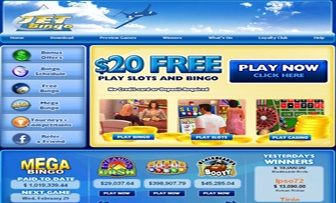 "JET Bingo UK, which was founded towards the end of 2009, is a gaming brand, specialising in online bingo but also covering ""Slots"" and ""Casino"" services. The first thing we noticed was the expression of ""$20 FREE – Play Slots and Bingo"" in the main ..."