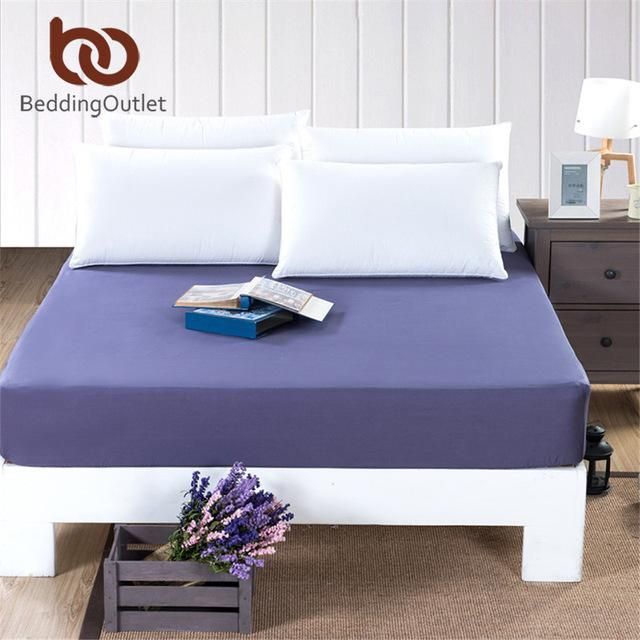 Beddingoutlet Mattress Cover Ed Sheet Bedding Bed Solid Color Navy Blue Protector Cotton