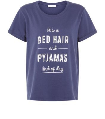 Size 10- 'Bed Hair and Pyjama Kind Of Day' printed front- Rounded neckline- Simple short sleeves- Casual fit- Soft cotton fabric