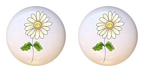 SET OF 2 KNOBS - Daisy Flower from You Are Loved Mother's Day Collection - DECORATIVE Glossy CERAMIC Cupboard Cabinet PULLS Dresser Drawer KNOBS