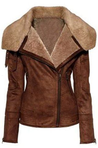 Stylish Turn-Down Collar Long Sleeve Zip Up Spliced Women's Jacket