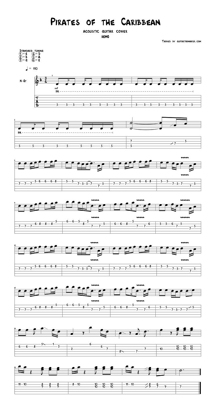 Pirates Of The Caribbean Theme Guitar Tab Full Music
