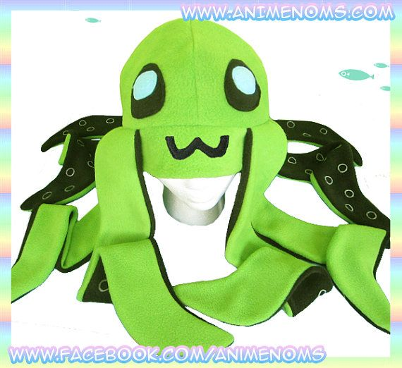 Green Octopus Hat - Antipill Fleece Anime Animal Tentacles 2 ft Long Raver Cute Kawaii Cosplay Adult Teen Child Geek Clothing