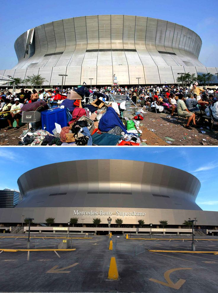 Katrina,+dix+ans+après Le Superdome de la Nouvelle-Orléans, où les habitants se sont réfugiés après le passage de Katrina, en septembre 2005 (haut) et en août 2015 (bas).