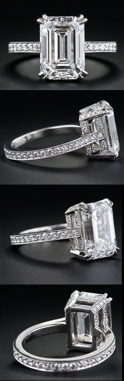 Most beautiful ring I have ever seen! 4.00 carat emerald-cut diamond engagement ring. Via Diamonds in the Library.