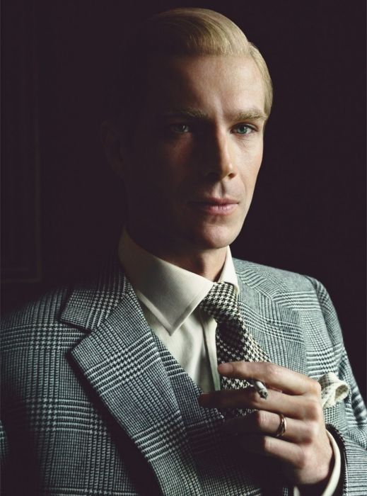 D'Arcy wears clothing designed by Arianne Phillips in collaboration with Dunhill; ring by Cartier.