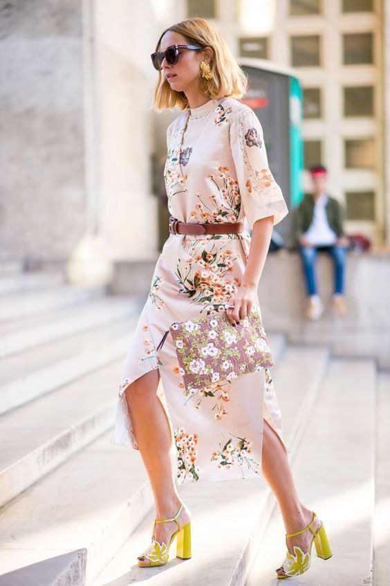 Summer dress, great yellow shoes.