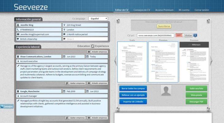 Seeveeze, plataforma que te permite crear tu curriculum en línea