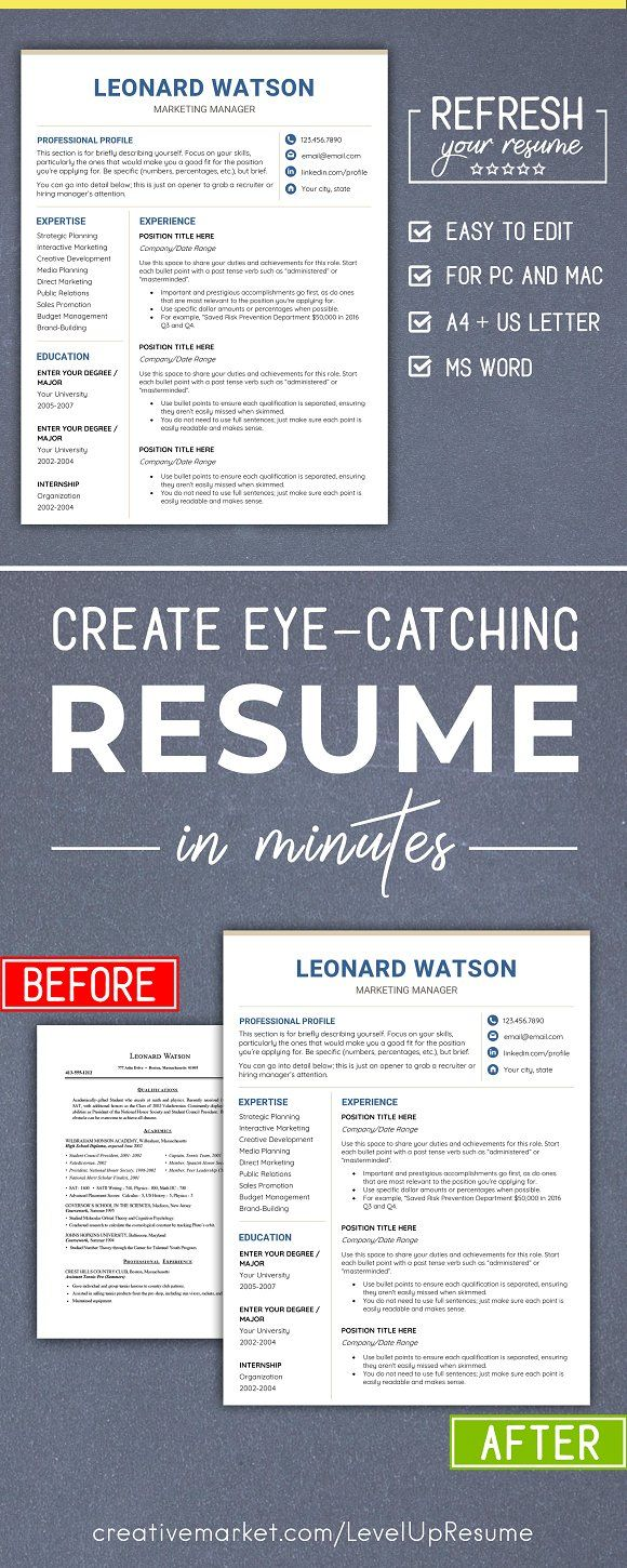 Modern RESUME Template CV - MS Word by LevelUpResume on @creativemarket