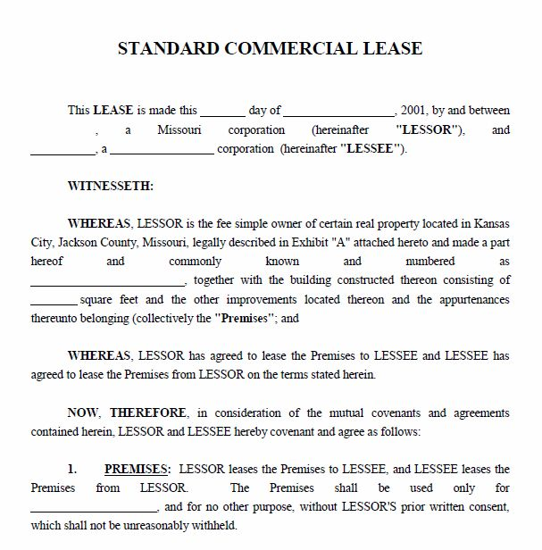 commercial property lease agreement template free Template – Commercial Property Lease Agreement Free Template