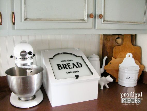 Repurposed Bread Box Charging Station ~ Hide the Electronic Mess ~ Rustic Farmhouse Cottage Style by Prodigal Pieces on Etsy. www.prodigalpieces.com