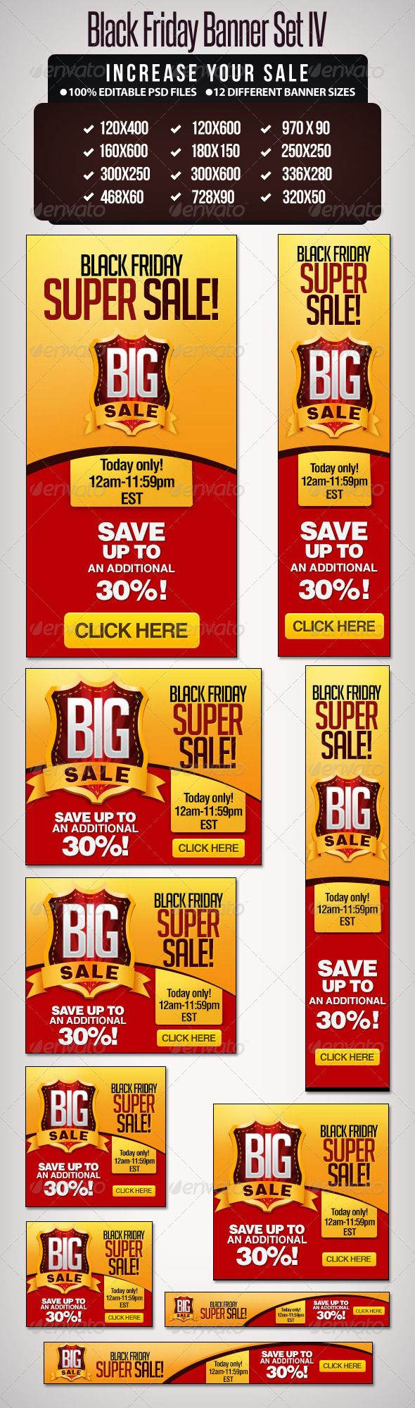 Big Sale Banner Set  – III  #GraphicRiver         12 banner sizes, designed to m…