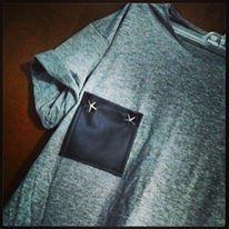 handmade shirt/ leather pocket