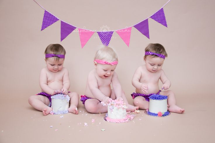 Triplets Cake Smash - Stephanie Gascho Photography!