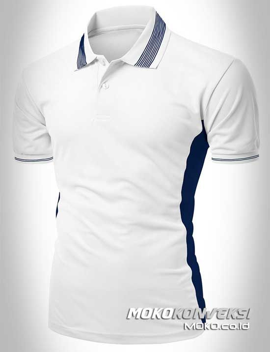 Polo Shirt Custom - KONVEKSI SEMARANG MOKO. Baju Kaos Polo Custom Warna Putih & Biru.