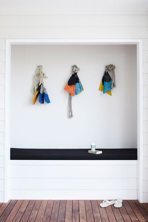 A clever display of surf-ready flippers at @Atlantic Byron Bay , as seen on @The Design Files.