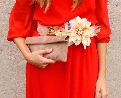 Comprar Cinturon de flores beige naranja amarillo para invitadas boda fiesta coctel online
