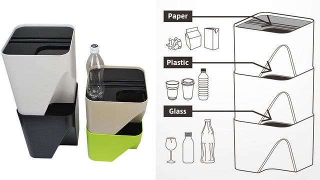 These stacking bins make separating papers and plastics a cinch - Cestini raccolta differenziata casa ...