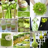 Lime Green Wedding Color - Lime Green is a lovely color for spring and summer. In this collage we simply paired it with white for a simple approach to this vibrant color.