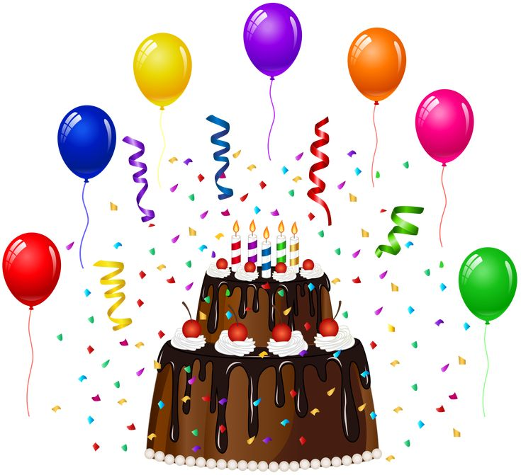 Birthday cake with confetti and balloons png clip art