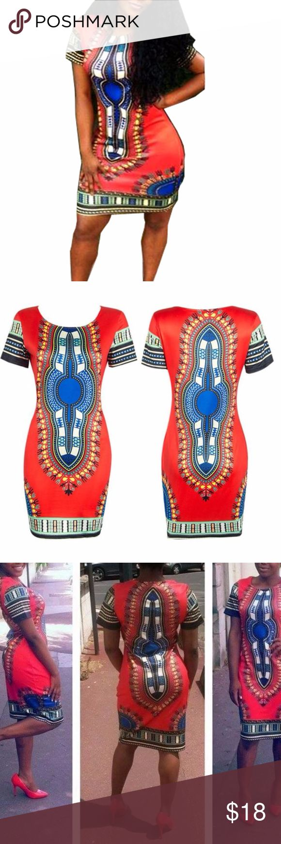 AFRICAN DASHIKI DRESS, RED BUST 37 INCHES WAIST 34 INCHES HIP: 40 INCHES Dresses Mini