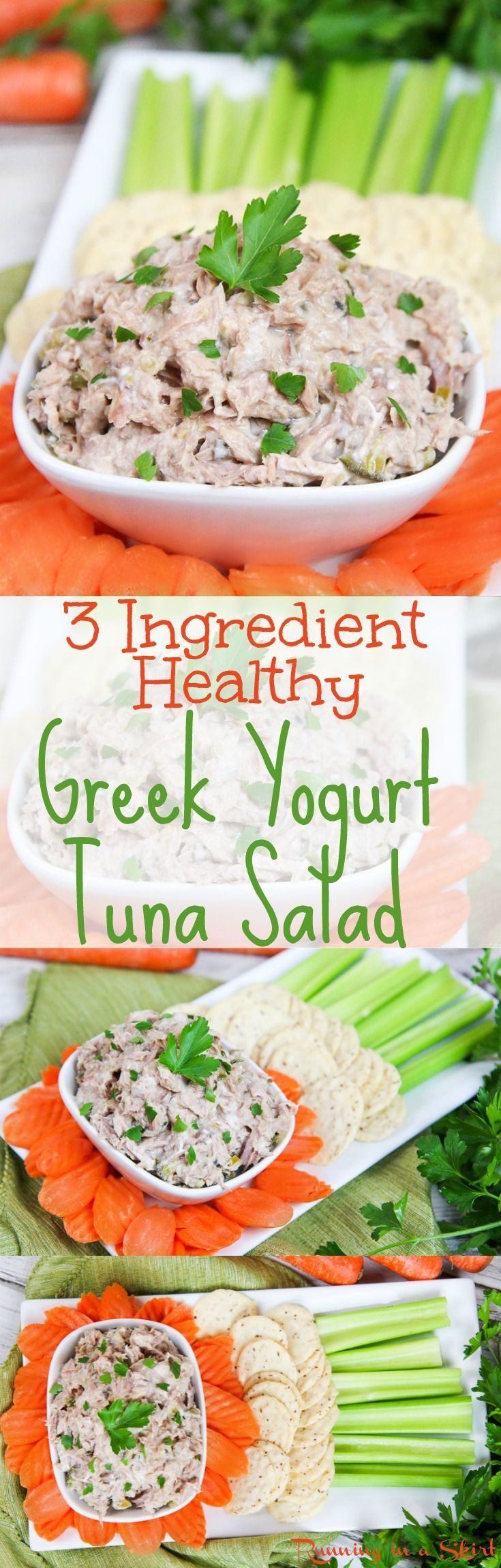 Healthy 3 Ingredient Greek Yogurt Tuna Salad recipe.  A clean eating, fast meal or snack.  An easy twist on the Southern favorite with greek yogurt, with relish and no mayo.  Diet friendly! / Running in a Skirt