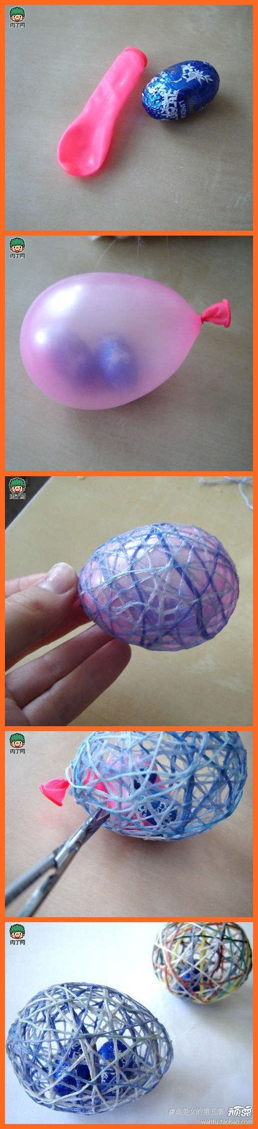 Get candy into Easter eggs - put small easter eggs in a balloon, inflate, wrap string and glue, dry, pop the balloon ja you have a string by...