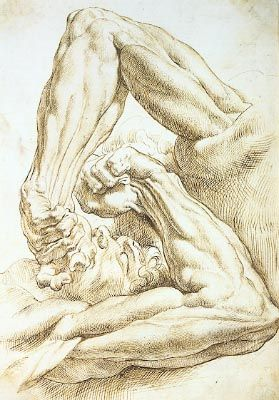 "Sir Peter Paul Rubens, ""Two Studies of a Left Arm and Hand with Part of a Torso and Head"" (recto). Early 17th century"